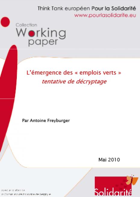 image couverture L'émergence des « emplois verts » tentative de décryptage