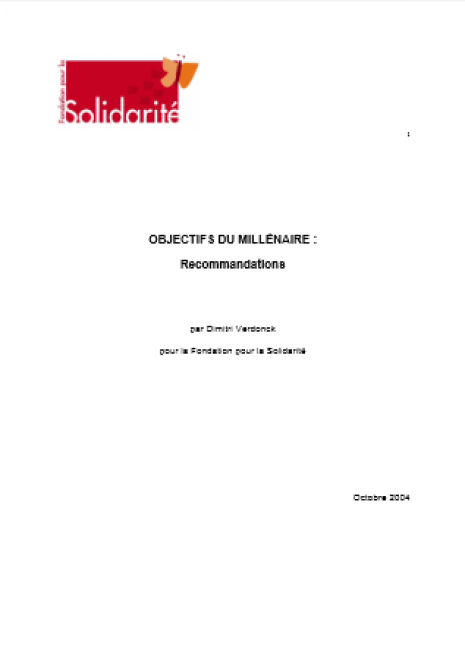 image couverture OBJECTIFS DU MILLÉNAIRE : Recommandations
