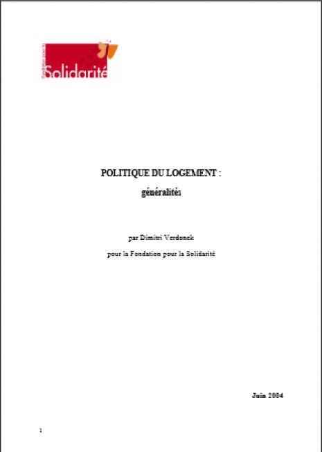 image couverture POLITIQUE DU LOGEMENT : généralités