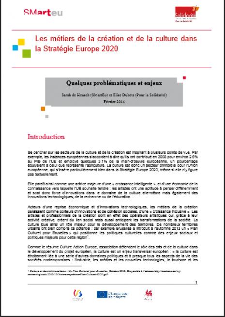 image couverture Les métiers de la création et de la culture dans la Stratégie Europe 2020