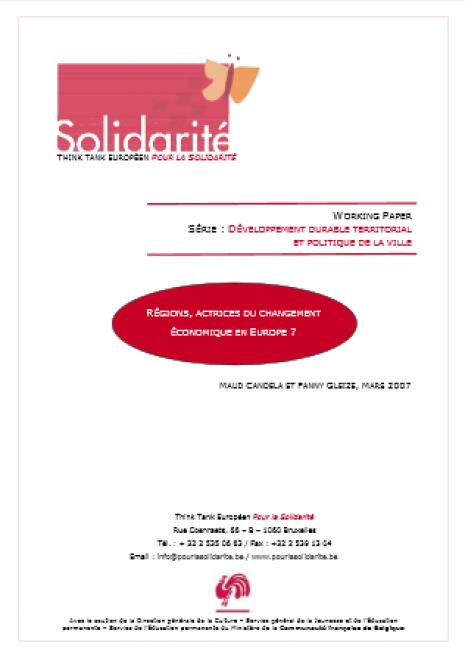 image couverture R ÉGIONS , ACTRICES DU CHANGEMENT ÉCONOMIQUE EN EUROPE